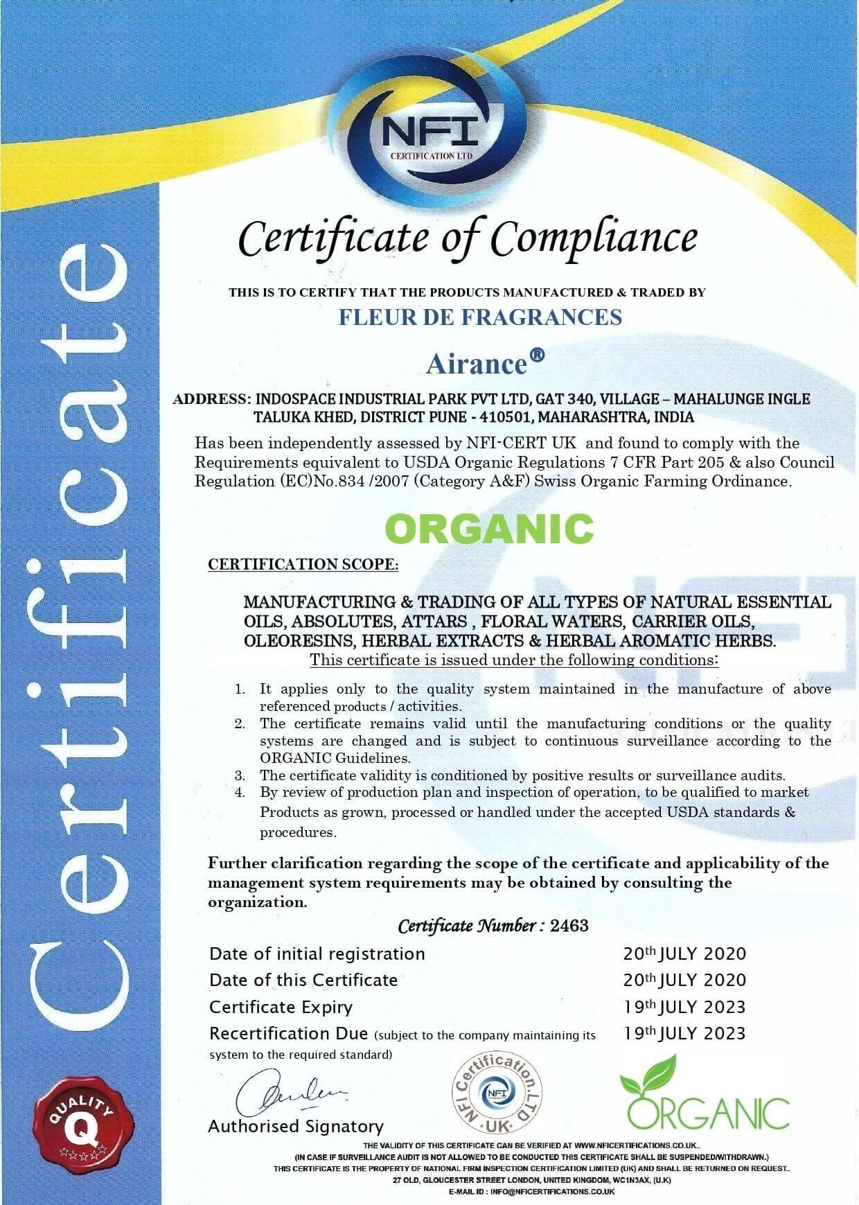 Certified Organic Essential Oil